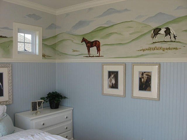 horse landscape above wainscoating paint by the design deli