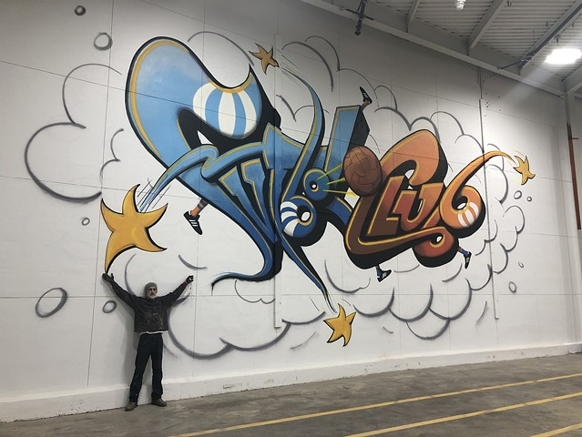 Futbol Clu StL Mural, spray paint
