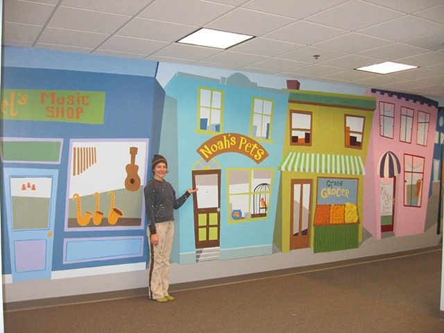long hallway for children's center Main Street paint by the design deli