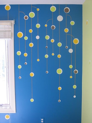 detail of hanging balls design paint by the design deli