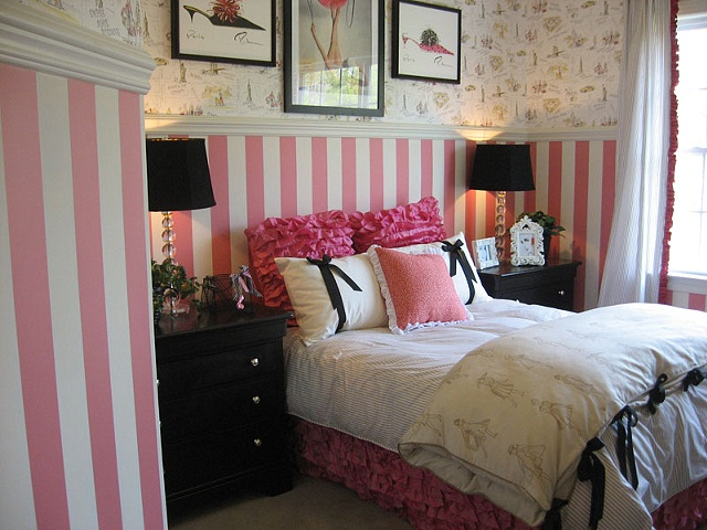 pink stripes bedroom paint by the design deli