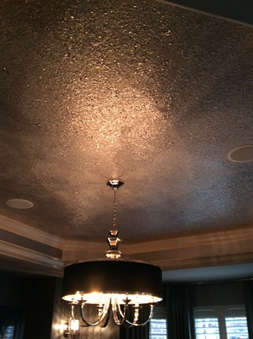Dining room- sliver mica flake ceiling.
