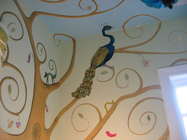 nursery mural tree with animals paint by the design deli