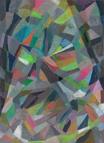 soft geometric abstract oil painting by Michelle Wasson