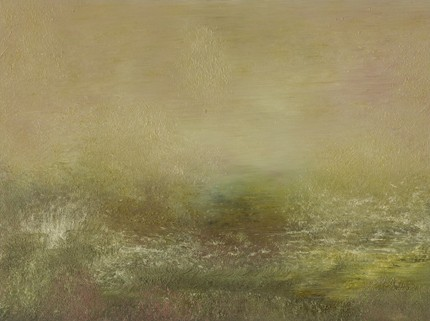 Landscape, abstract, tonal, soft greens, muted, restful