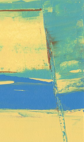 Abstract, aqua, soft yellow, blues and a hint of red