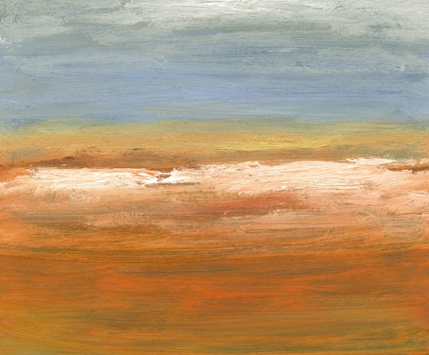 Landscape, abstract, blue, soft orange, white