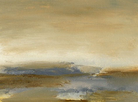 Landscape, abstract, blues, grays, browns, rich