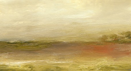 Landscape, abstract, cream, greens, soft orange, painterly