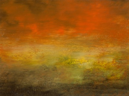 Landscape, abstract, deep orange, gold, muted, deep green, intense
