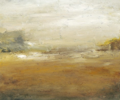 Landscape, abstract, soft gold, white, gray green, golden brown