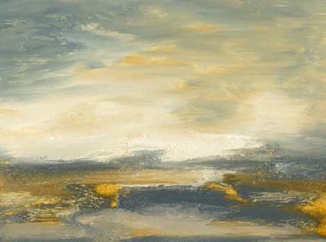 Landscape, abstract, blues, soft gray, golden yellow, rich