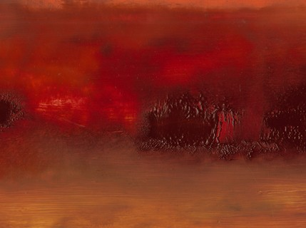 Landscape, abstract, intense, reds, lush, rich