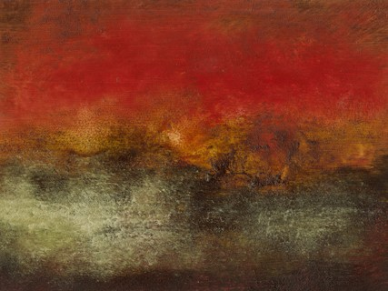 Landscape, abstract, intense, reds, deep grays, sepia, lush, rich