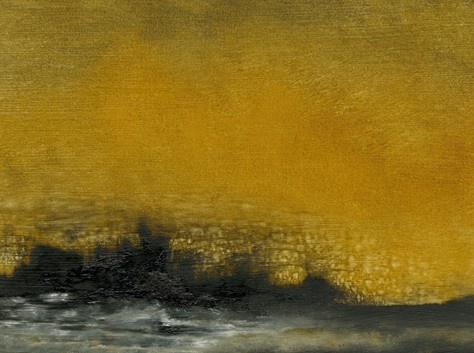Landscape, abstract, intense, gold, deep blue black, warm, powerful