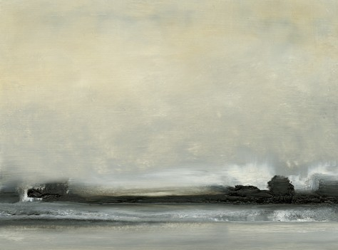 Landscape, abstract, grays, black, soft yellow, soft, restful, muted