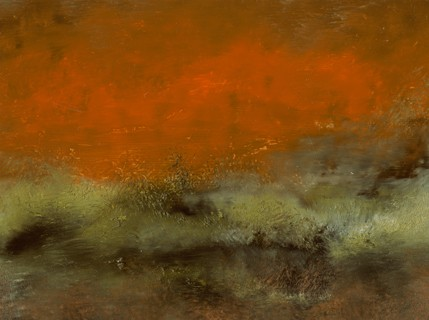 Landscape, abstract, deep orange, gold, muted, greens, intense, rich
