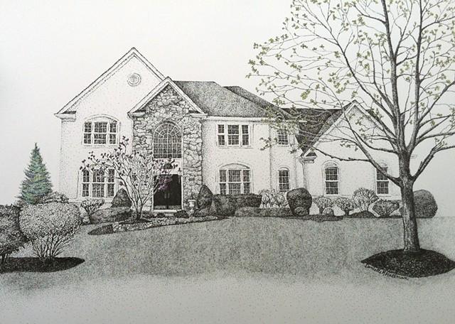 Original House Drawing, Stippling