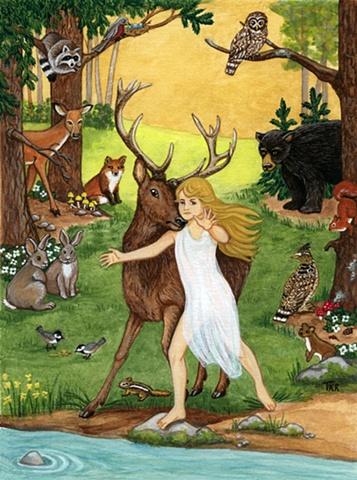 original gouache painting on paper woodland scene