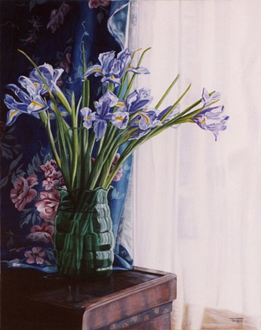 Siberian Irises in a Green Vase