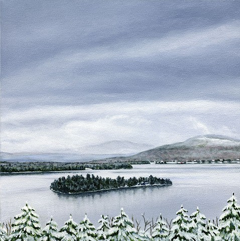 oil painting of Rangeley Lake, Maine