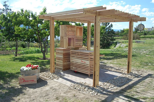 Trellis, boxes and cart
