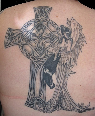 Previously done Angel with cross added