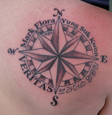 Compass rose in memory of Mark Flora