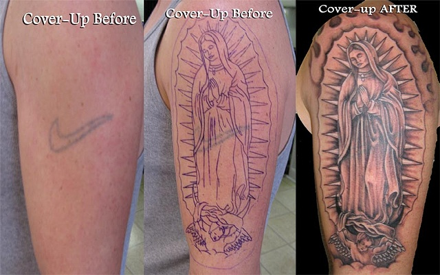 cover up of nike symbol with Virgin Mary