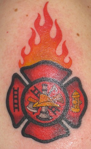 Maltese cross and flames