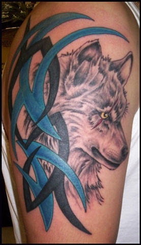 Wolf with Tribal.
