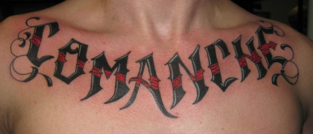 Comanche chest tattoo