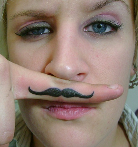 dontcha wish you had a finger moustache tattoo too?