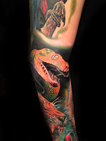 Color Tattoo of a Pit Viper