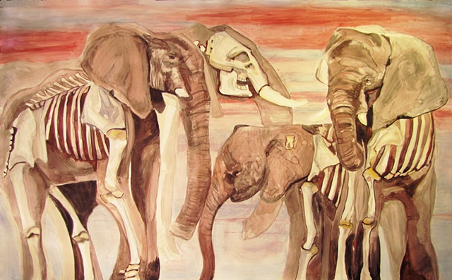 Elephant skeletons dead watercolor