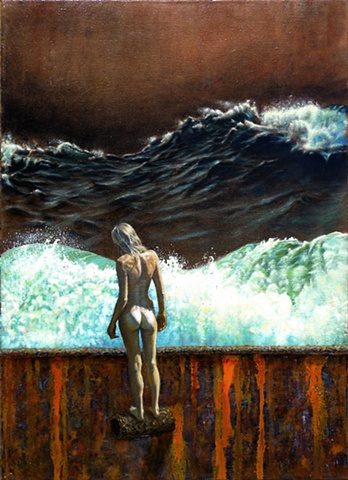 Peter Shepard Cole, surf, wave, painting, rust