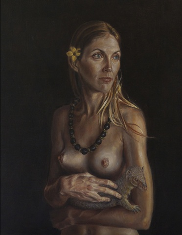 lady with an ermine, Leonardo da Vinci, Hawaii, Mongoose, kukui nut lei, hula dancer, Peter Shepard Cole, painting