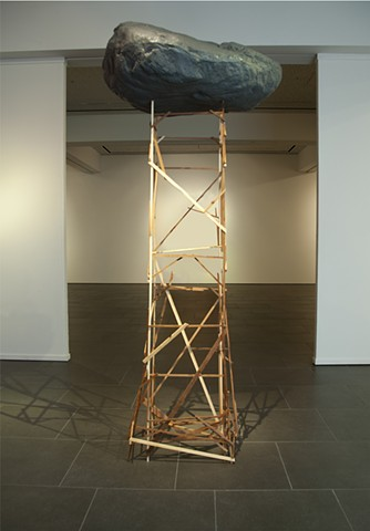 Anya Gallaccio, brian zimmerman, bryan, art, sculpture, oceanside museum of art, rock, tower
