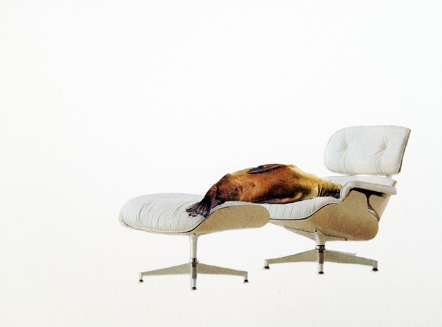 brian zimmerman, bryan zimmerman, art, artist, collage, sea lion, wallrus, recliner, chair