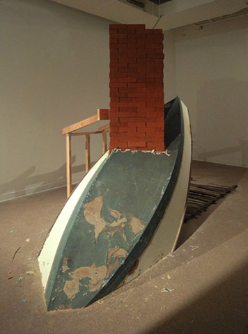 boat, chimney, brian zimmerman, art, half past ten, wreck,