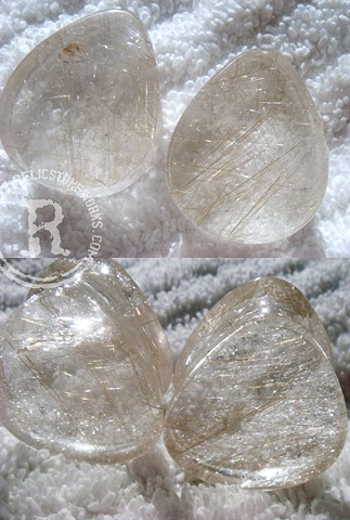"1"" Rutilated Quartz Teardrops"