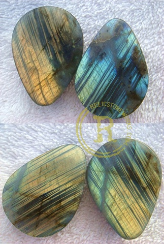 "1 1/2"" Striated Labradorite Teardrops"