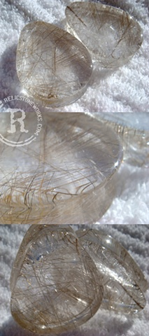 "1 5/8"" Rutilated Quartz Concave Teardrops"