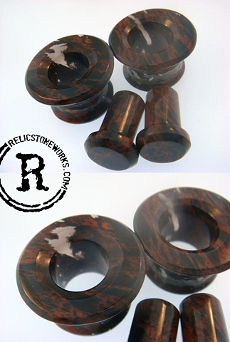 "1/2"" Mahogany Obsidian Eyelets and Conches"