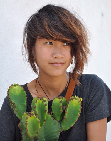 Zoe and the cactus