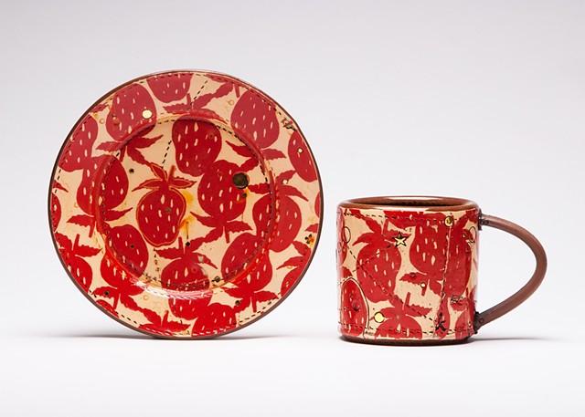 Strawberry Dessert Plate and Mug