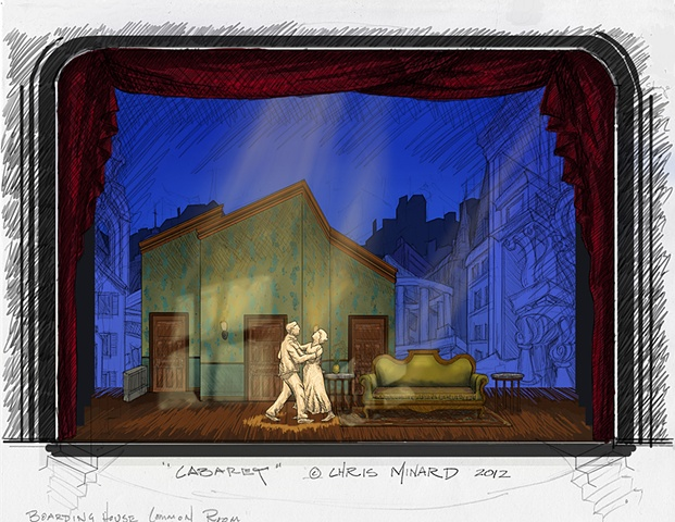 cabaret, kander, ebb, broadway, theater, theatre, set, design, scenic, rendering