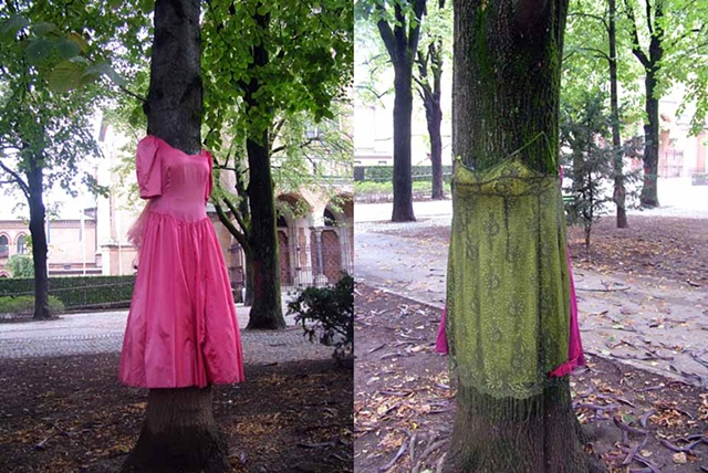 "Tree Dress Park Tabor, Ljubljana Oct - December 2011  Tree Dress on left is titled ""Bridesmaid of Honour""  Tree Dress on right is titled ""Princess of Ireland"""