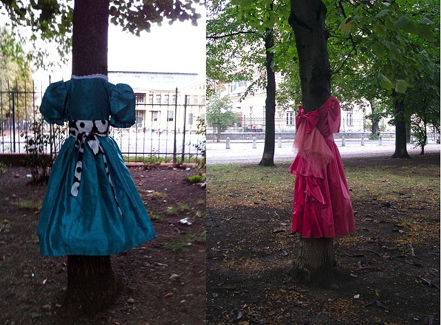 "Tree Dresses Park Tabor, Ljubljana Oct - December 2011  Tree Dress on left is titled ""Nassima Sadia"" Tree Dress on right is titled ""Paloma Escobar Ledezma"""