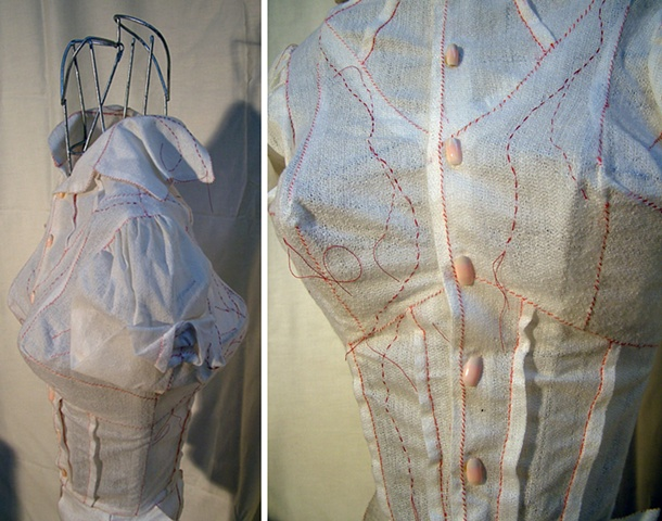 Four Breasted Blouse sewn with veins & fake nails as buttons